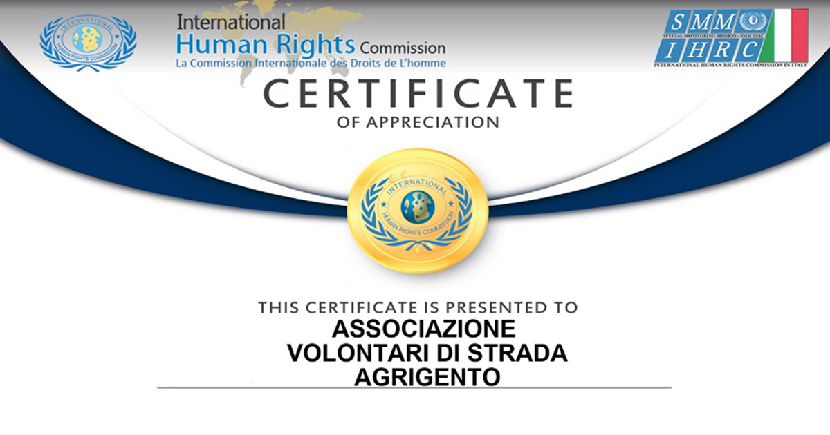"Certificato di apprezzamento da parte della ""International Human Rights Commission"""